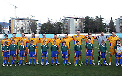 Team of Romania before  Friendly match between U-21 National teams of Slovenia and Romania, on February 11, 2009, in Nova Gorica, Slovenia. (Photo by Vid Ponikvar / Sportida)