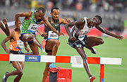 Hillary Bor (USA) and Abraham Kibiwot (KEN) hurdle a barrier in the steeplechase during the IAAF Doha Diamond League 2019 at Khalifa International Stadium, Friday, May 3, 2019, in Doha, Qatar. Bor placed second in 8:08.41. (Jiro Mochizuki/Image of Sport)