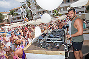 EXCLUSIVE<br /> Mark wright parties at BH Hotel pool party in Magaluf , pictured alone his wife Michelle was back home in the UK<br /> ©Exclusivepix Media