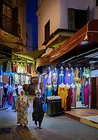 CASABLANCA, MOROCCO - CIRCA APRIL 2018: People walking in the medina of Casablanca at night.