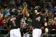 PHOENIX, AZ - MAY 28:  Paul Goldschmidt #44 of the Arizona Diamondbacks is congratulated by Michael Bourn #1 after hitting a two run home run against the San Diego Padres in the second inning at Chase Field on May 28, 2016 in Phoenix, Arizona.  (Photo by Jennifer Stewart/Getty Images)
