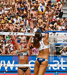06-08-2011 VOLLEYBAL: FIVB WORLD TOUR GRANDSLAM: KLAGENFURT<br /> Sanne Keizer Netherlands, Maria Antonelli Brazil<br /> ©2011-FotoHoogendoorn.nl / Gert Steinthaler