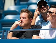 David Lee watches Caroline Wozniacki during the first round of the 2018 US Open Grand Slam tennis tournament, at Billie Jean King National Tennis Center in Flushing Meadow, New York, USA, August 28th 2018, Photo Rob Prange / SpainProSportsImages / DPPI / ProSportsImages / DPPI