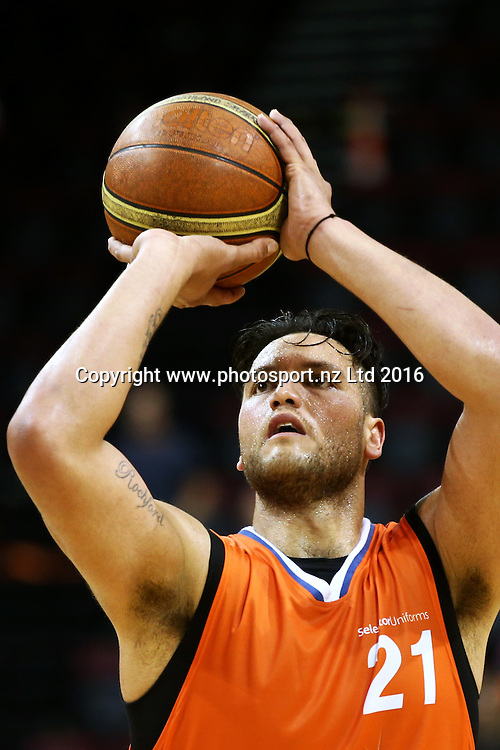 James Paringatai of the Sharks takes a shot during the NBL basketball match between the Southland Sharks and Nelson Giants, ILT Stadium Southland, Invercargill, Saturday, March 12, 2016. Photo: Dianne Manson / www.photosport.nz