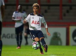 STEVENAGE, ENGLAND - Monday, September 19, 2016: Tottenham Hotspur's Marcus Edwards in action against Liverpool during the FA Premier League 2 Under-23 match at Broadhall. (Pic by David Rawcliffe/Propaganda)