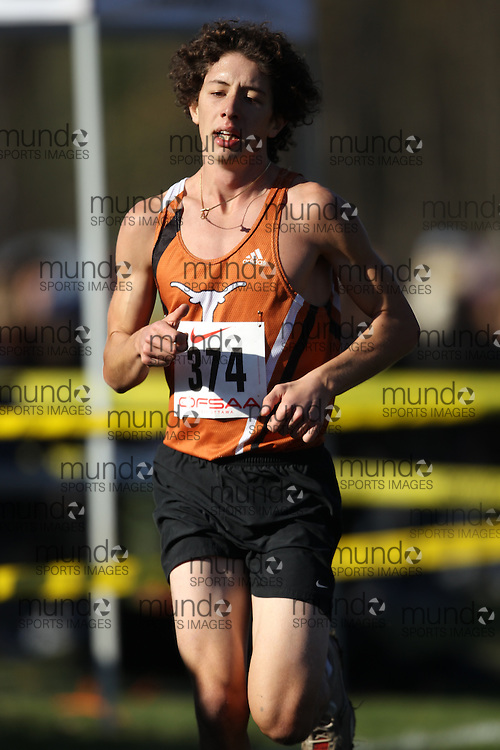 Chris Angelatos of Corpus Christi competes in the senior boys race at the 2011 OFSAA Cross Country Championships in Ottawa, Ontario, November 5, 2011..GEOFF ROBINS/ Mundo Sport Images