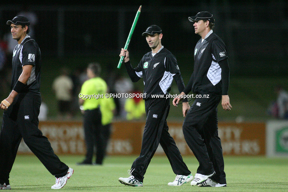 Andy McKay talks with Jacob Oram as they leave the field after the match. New Zealand Black Caps v Bangladesh. 1st ODI. McLean Park, Napier. Friday 05 February 2010  Photo: John Cowpland/PHOTOSPORT