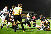 Dmitri Arhip crawls over the line to score try during the Guinness Pro 14 2017_18 match between Edinburgh Rugby and Ospreys at Myreside Stadium, Edinburgh, Scotland on 4 November 2017. Photo by Kevin Murray.