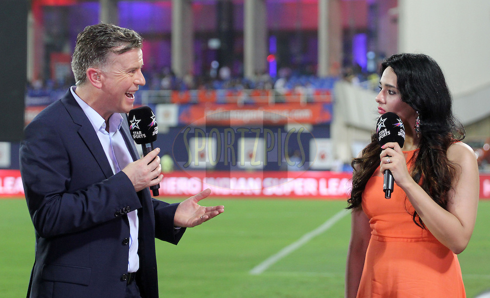 Commentators John Dykes and Mayanti Langer during match 34 of the Hero Indian Super League between Mumbai City FC and FC Goa held at the D.Y. Patil Stadium, Navi Mumbai, India on the 17th November.<br /> <br /> Photo by:  Vipin Pawar/ ISL/ SPORTZPICS