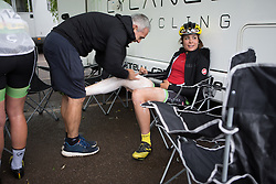 Sheyla Gutierrez Ruiz (ESP) of Cylance Pro Cycling gets leg rub before the start of the Aviva Women's Tour 2016 - Stage 2. A 140.8 km road race from Atherstone to Stratford upon Avon, UK on June 16th 2016.