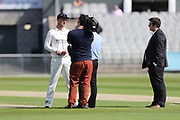 Lancashires Dane Vilas (Capt) interviewed after the toss  during the Specsavers County Champ Div 2 match between Lancashire County Cricket Club and Northamptonshire County Cricket Club at the Emirates, Old Trafford, Manchester, United Kingdom on 14 May 2019.