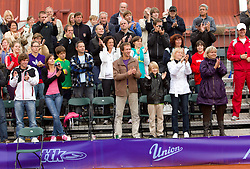 Spectators during Trophy ceremony after the  final match between Blaz Kavcic (SLO) and  David Goffin (BEL) during day five of the ATP Challenger  BMW Ljubljana Open 2010, on September 26, 2010,  in TC Ljubljana Siska, Slovenia. Kavcic defeated Goffin 6:2, 4:6, 7:5.  (Photo by Vid Ponikvar / Sportida)