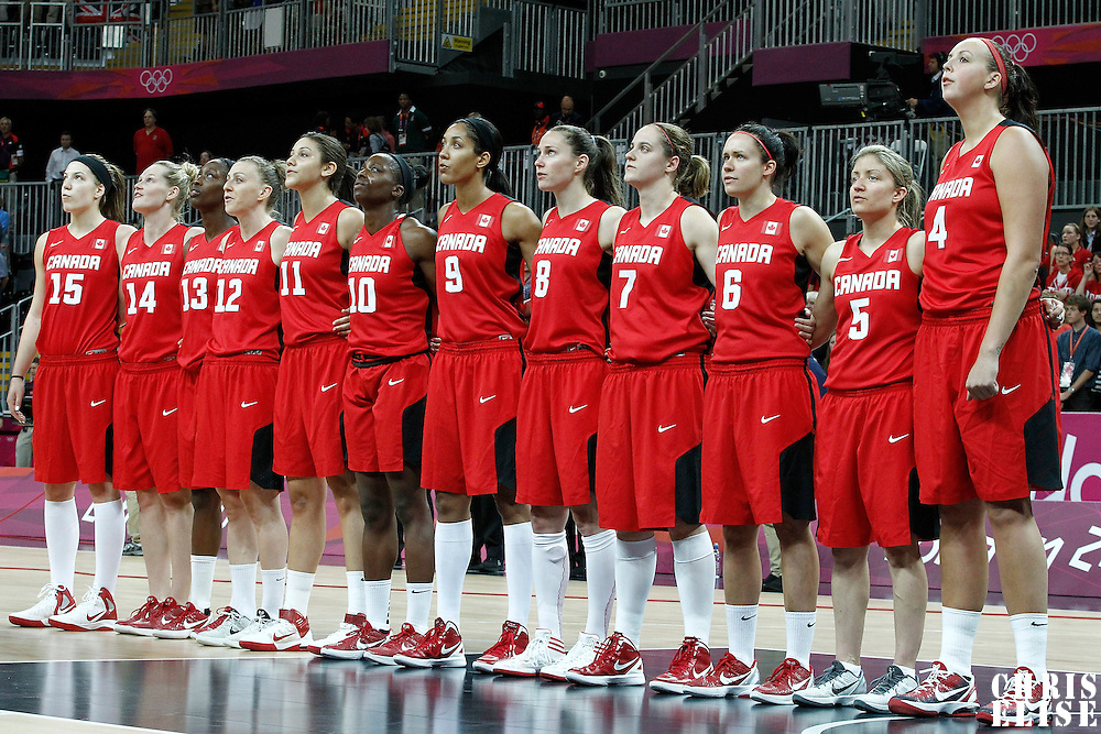 07 August 2012:  Team Canada stands during the National Anthem prior to the 91-48 Team USA victory over Team Canada, during the women's basketball quarter-finals, at the Basketball Arena, in London, Great Britain.