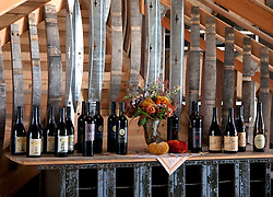 Display of estate-made wines in tasting room of Ladyhill Winery, St. Paul, Oregon.