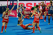 captain Alex Danson of England (15) scores a goal (1-0) and celebrates with team mates during the Vitality Hockey Women's World Cup 2018 Pool B match between the USA and England at the Lee Valley Hockey and Tennis Centre, QE Olympic Park, United Kingdom on 25 July 2018. Picture by Martin Cole.