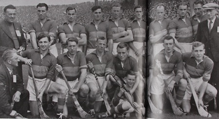 Tipperary All-Ireland Hurling Champions 1949. Back Row: Phil Purcell, Flor Coffey, Sean Kennedy, Tony Reddan, Phil Shanahan, Jn Doyle, Tim Dwyer, Sonny Maher, Seamus Bannon, Tony Brennan, J J Callanan, Gerry Doyle. Middle Row: P Leahy, Tommy Ryan, Mick Ryan, Mick Byrnes, Pat Stakelum (captain with P Caplis, mascot), T Doyle, Jimmy Doyle, Jimmy Kennedy, Jack Ryan.