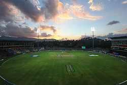 © Licensed to London News Pictures. 01/10/2012. Pallekele International Stadium Cricket Stadium at dusk during the T20 Cricket World super 8's match between New Zealand Vs West Indies at the Pallekele International Stadium Cricket Stadium, Pallekele. Photo credit : Asanka Brendon Ratnayake/LNP