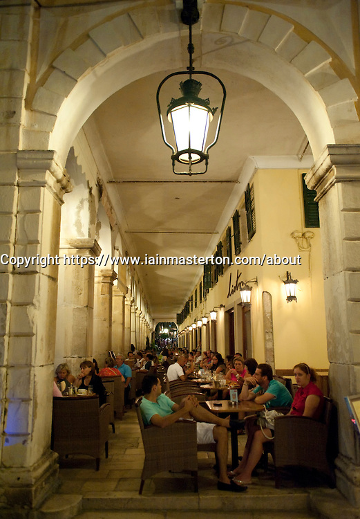 Night views of cafe on The Liston street in central Kerkya Town on Corfu Island in Greece
