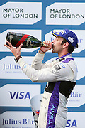DS Virgin Racing driver, Jean-Eric Vergne celebrating finishing third during Round 9 of Formula E, Battersea Park, London, United Kingdom on 2 July 2016. Photo by Matthew Redman.