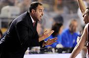 DESCRIZIONE : Roma Lega A 2014-15 <br /> Acea Virtus Roma - Giorgio Tesi Group Pistoia<br /> GIOCATORE : Paolo Moretti<br /> CATEGORIA : coach delusione mani arbitro <br /> SQUADRA : Giorgio Tesi Group Pistoia<br /> EVENTO : Campionato Lega A 2014-2015 <br /> GARA : Acea Virtus Roma - Giorgio Tesi Group Pistoia<br /> DATA : 22/03/2015<br /> SPORT : Pallacanestro <br /> AUTORE : Agenzia Ciamillo-Castoria/N. Dalla Mura<br /> Galleria : Lega Basket A 2014-2015  <br /> Fotonotizia : Roma Lega A 2014-15 Acea Virtus Roma - Giorgio Tesi Group Pistoia