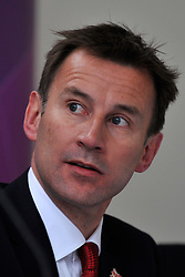 © Licensed to London News Pictures. 18/04/2012. Kew, UK . JEREMY HUNT at the conference. Lord Seb Coe give a press conference at Kew Gardens in West London today 18 April 2012 to mark 100 days to go until the opening of the Olympics in London. Photo credit : Stephen Simpson/LNP