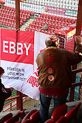 Nottingham Forest fans making their presence known during the Sky Bet Championship match between Brentford and Nottingham Forest at Griffin Park, London, England on 21 November 2015. Photo by Matthew Redman.