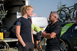 Geerike Schreurs & Manel Lacambra discuss the feed zone plan for the day at Boels Rental Ladies Tour Stage 6 a 159.7 km road race staring and finishing in Sittard, Netherlands on September 3, 2017. (Photo by Sean Robinson/Velofocus)