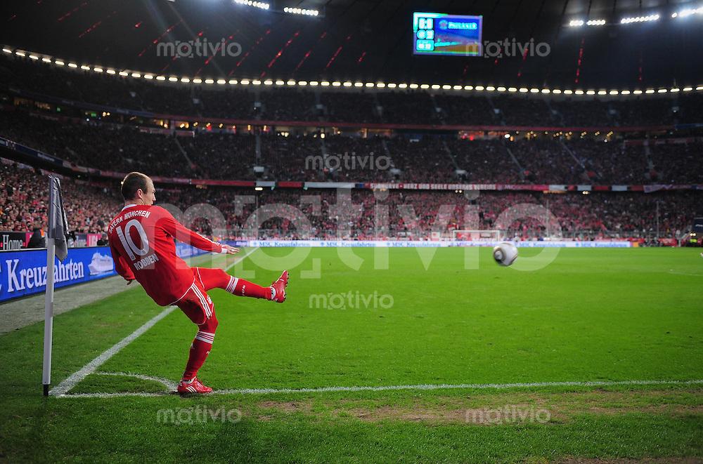 Fussball 1. Bundesliga :  Saison   2009/2010   24. Spieltag   28.02.2010 FC Bayern Muenchen - Hamburger SV  Arjen Robben  (FCB) beim Eckball