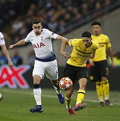 BRITAIN-LONDON-FOOTBALL-UEFA CHAMPIONS LEAGUE-TOTTENHAM VS DORTMUND.(190213) -- LONDON, Feb.13, 2019  Tottenham Hotspur's Harry Winks (L) vies with Borussia Dormund's Achraf Hakimi (R) during the UEFA Champions League Round of 16 1st Leg match between Tottenham Hotspur and Borussia Dortmund at Wembley Stadium in London, Britain on Feb. 13, 2019. Tottenham Hotspur won 3-0.  FOR EDITORIAL USE ONLY. NOT FOR SALE FOR MARKETING OR ADVERTISING CAMPAIGNS. NO USE WITH UNAUTHORIZED AUDIO, VIDEO, DATA, FIXTURE LISTS, CLUB/LEAGUE LOGOS OR ''LIVE'' SERVICES. ONLINE IN-MATCH USE LIMITED TO 45 IMAGES, NO VIDEO EMULATION. NO USE IN BETTING, GAMES OR SINGLE CLUB/LEAGUE/PLAYER PUBLICATIONS. (Credit Image: © Xinhua via ZUMA Wire)