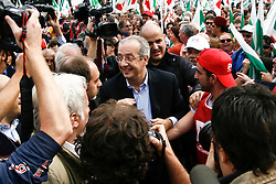 Rome/Italy oct 25 2008 - Demostration of PD (democratic party) against italian Government of Silvio Berlusconi. Walter Veltroni, leader of PD
