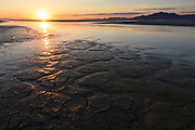 Sunset in the Black Rock desert, Nevada, home of Burning Man filled with water at the end of May, 2017. Black Rock Lake, NV, USA, Gerlach.