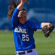 Delaware Pitcher Carolyn Szymanski (25) pitching in the first inning of a NCAA Non Conference Regular season game between The University Of Delaware and The Peacocks of Saint Peter's Wednesday, April 23, 2014, at UD Softball Stadium in Newark Delaware.