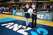 ANZ Future Captains Eva Forrest-Chambers aged 10 (L) and Emma Rose Clelland aged 8 (R). 2015 ANZ Championship, Northern Mystics v WBOP Magic, The Trusts Arena, Auckland, New Zealand. 18 May 2015. Photo: Anthony Au-Yeung / www.photosport.co.nz