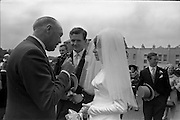 05/07/1967<br /> 07/05/1967<br /> 05 July 1967<br /> Wedding of George Walsh, eldest son of Mr and Ms Kevin G. Walsh, St. Rita's, Firhouse Road, Templeogue, Co. Dublin and Miss Arlene McMahon, elder daughter of Det. Chief Supt. Philip McMahon, Head of Special Branch, Dublin Castle and Mrs McMahon of Lisieux, Templeville Park, Templeogue, Co. Dublin who were married at the Carmelite Church, Terenure College, Dublin. An Taoiseach Mr Jack Lynch and Mrs Lynch; Mr Liam Cosgrave, leader Fine Gael and Mrs Cosgrave were among the 120 guests. Rev Fr H.E. Wright, O. Carm., Moate, officiated at the ceremony. The reception was held at Downshire Hotel, Blessington, Co. Wicklow.