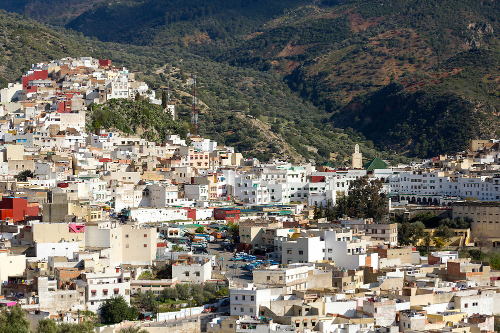 View over the Medina of Moulay Idriss Zerhoun, Middle Atlas, Morocco, 2016-04-11.
