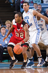 28 December 2006: Rutgers guard (32) Jaron Griffin during a 87-48 Rutgers Scarlet Knights loss to the North Carolina Tarheels, in the Dean Smith Center in Chapel Hill, NC.<br />