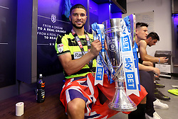 Free to use courtesy of Sky Bet - Nahki Wells of Huddersfield Town celebrates winning the Sky Bet Championship Playoff Final and promotion to the Premier League - Mandatory by-line: Robbie Stephenson/JMP - 29/05/2017 - FOOTBALL - Wembley Stadium - London, England - Huddersfield Town v Reading - Sky Bet Championship Play-off Final
