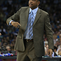 11 February 2009:  Boston Celtics coach Doc Rivers instructs his team during a 89-77 loss by the New Orleans Hornets to the Boston Celtics at the New Orleans Arena in New Orleans, LA.