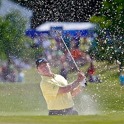 Apr 29, 2012; Avondale, LA, USA; Ernie Els hits from the sand on the first playoff at the 18th hole during the final round of the Zurich Classic of New Orleans at TPC Louisiana. Mandatory Credit: Derick E. Hingle-US PRESSWIRE