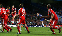 Photo: Paul Thomas.<br /> Chelsea v Liverpool. UEFA Champions League. Semi Final, 1st Leg. 25/04/2007.<br /> <br /> Frank Lampard (2nd R) shoots at goal with this penalty.