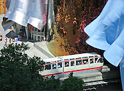 Experience Music Project, and the Seattle Monorail, Seattle Center, Seattle, Washington, USA