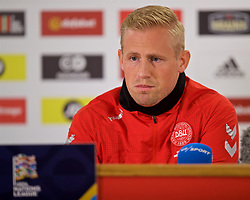 CARDIFF, WALES - Thursday, November 15, 2018: Denmark's goalkeeper Kasper Schmeichel during a press conference at the Cardiff City Stadium ahead of the UEFA Nations League Group Stage League B Group 4 match between Wales and Denmark. (Pic by David Rawcliffe/Propaganda)