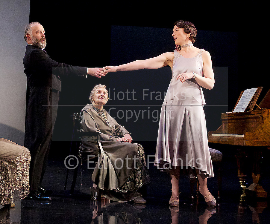 Waste <br /> by Harley Granville Barker<br /> at the Lyttelton Theatre, NT, Southbank, London, Great Britain <br /> 9th November 2015 <br /> <br /> <br /> <br /> Doreen Mantle as Countess Mortimer <br /> Olivia Williams as Amy O'Connell <br /> Louis Hilyer as Russell Blackborough<br /> <br /> <br /> Photograph by Elliott Franks <br /> Image licensed to Elliott Franks Photography Services