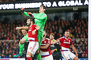 Chelsea goalkeeper Thibaut Courtois (13)  gets up to punch clear during the Premier League match between Middlesbrough and Chelsea at the Riverside Stadium, Middlesbrough, England on 20 November 2016. Photo by Simon Davies.