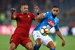 October 14, 2017 - Rome, Italy - Bruno Peres of Roma and Faouzi Ghoulam of Napoli during the Italian Serie A football match AS Roma vs Napoli at the Olympic Stadium in Rome, on October 14, 2017. (Credit Image: © Matteo Ciambelli/NurPhoto via ZUMA Press)