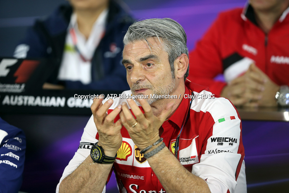 Maurizio ARRIVABENE, team principal of the Ferrari Formula One team, <br /> AUSTRALIAN Formula One Grand Prix 2015, Albert Park  - <br /> Formel 1 Rennen in Australien, Motorsport, F1 GP, 13.03. Honorarpflichtiges Foto, Fee liable image, <br /> Copyright &copy; ATP Clay CROSS