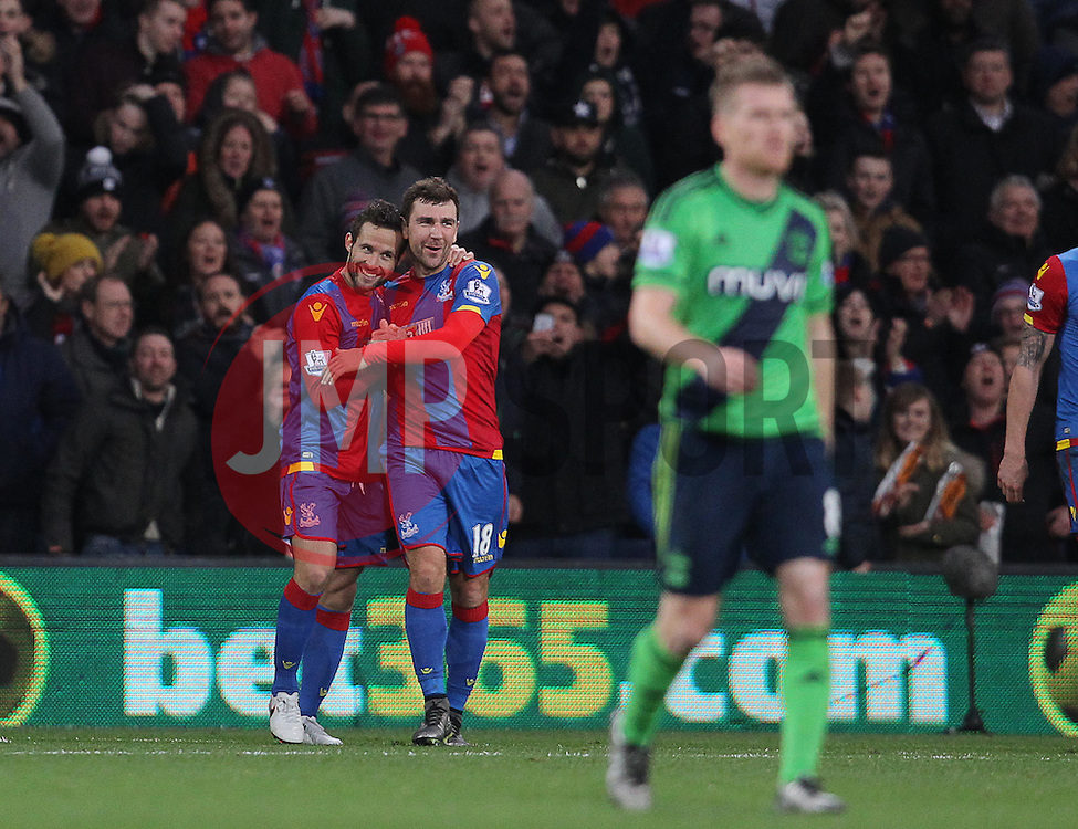 Yohan Cabaye ( L ) of Crystal Palace celebrates with James McArthur after he scores the opening goal of the match - Mandatory byline: Paul Terry/JMP - 12/12/2015 - Football - Selhurst Park - London, England - Crystal Palace v Southampton - Barclays Premier League
