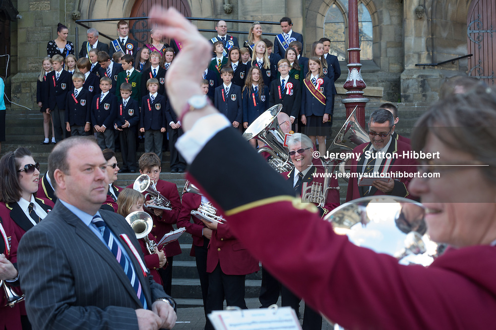 The installation of the Cornet at the Old Parish Church steps, at The Peebles Beltane Festival, including their Common Riding of the Marches, with Cornet Daniel Williamson, and Cornets Elect Lass Susan Thomson, in Peebles, Scotland, Wednesday 19th June 2013. <br /> N55&deg;39.072'<br /> W3&deg;11.544'