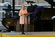 Koning Willem Alexander opent Nationaal Militair Museum op het voormalig vliegveld Soesterg. In het museum zijn de collecties van het Legermuseum in Delft en het Militair Luchtvaart Museum in Soesterberg samengevoegd. <br /> <br /> <br /> King Willem Alexander opens National Military Museum at the former airport Soesterg. In the museum are the collections of the Army Museum in Delft and the Military Aviation Museum in Soesterberg merged.<br /> <br /> op de foto / On the photo: <br /> <br />   minister van Defensie Jeanine Hennis-Plasschaert