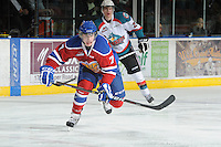 KELOWNA, CANADA, FEBRUARY 15: Stephane Legault #7 of the Edmonton OIl Kings skates on the ice at the Kelowna Rockets on February 15, 2012 at Prospera Place in Kelowna, British Columbia, Canada (Photo by Marissa Baecker/Shoot the Breeze) *** Local Caption ***